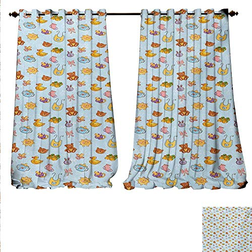 familytaste Waterproof Window Curtain Newborn Sun Teddy Bear Ribbon Feeder Pacifier Chick Kitty Cat Design Waterproof Window Curtain W120 x L108 Pale Blue Cinnamon Apricot.jpg