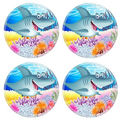 (Liili Round Coasters Non-Slip Natural Rubber Desk Pads Shark cartoon Photo 12152683)