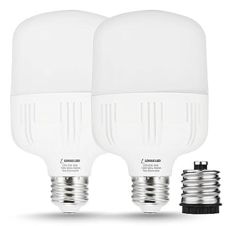 LOHAS 30W LED Bulb Daylight White 5000K,250W-300W Light Bulb Equivalent  with Free E26 to E39 Converter, 3400 Lumens Commercial Retrofit LED, High