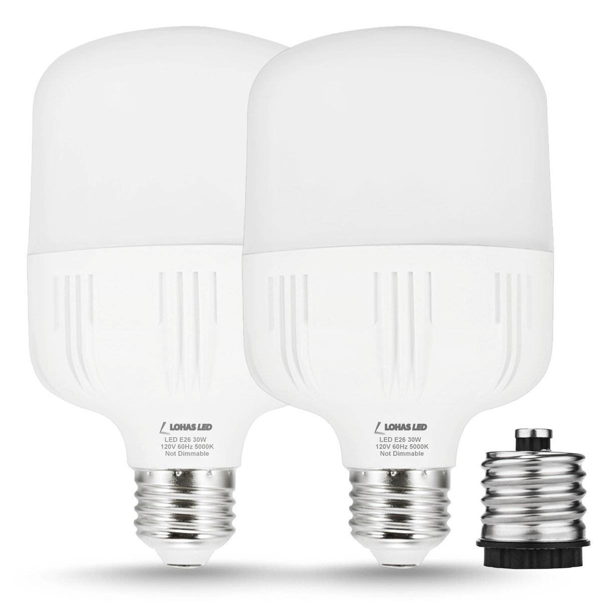 LOHAS 250W-300W Light Bulb Equivalent, 30W LED Bulb Daylight White 5000K with Free E26 to E39 Converter, 3400 Lumens, High Watt Commercial Retrofit LED Bulbs for Garage Warehouse Workshop(2 Pack)