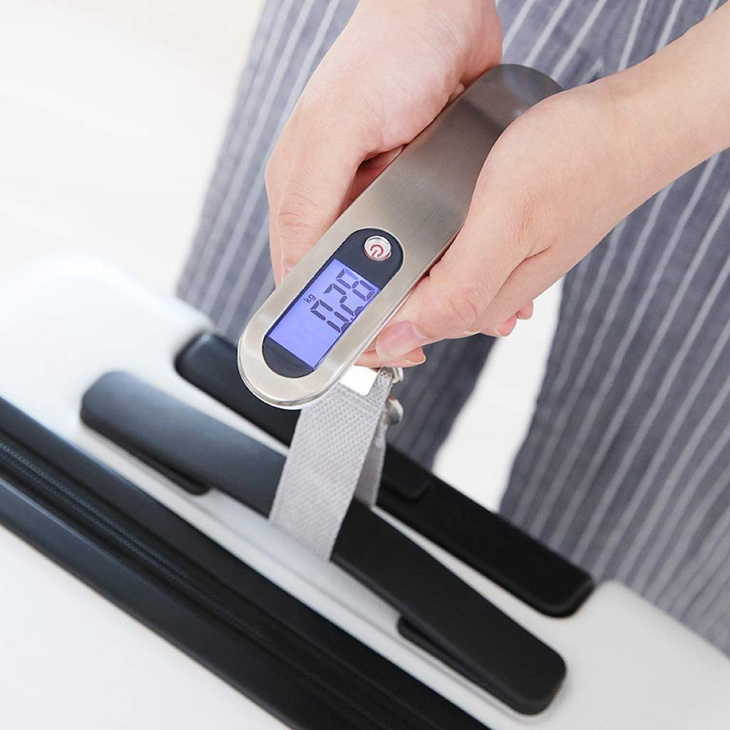 SKATEGY Luggage Scale Portable Digital Scale Electronic Suitcase Scale Hanging Scales Luggage Weighing Scale 110 Pound// 50 Killogram with Backlit Lightweigh for Travel Color : Silver