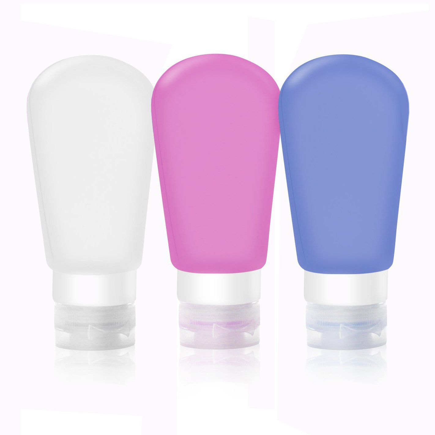 Cisixin Travel Bottles Set with Leak Proof Silicone Bottles TSA Approved - Squeezable & Refillable Travel Containers for Shampoo, 3 oz, Set of 3