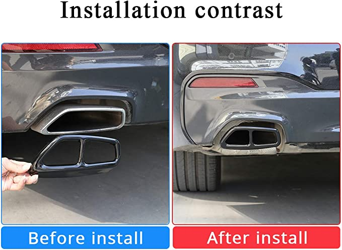 Qiilu Tail Muffler Tip,2 Pcs Car Exhaust Tailpipe Cover Trim Stainless Steel for BMW 5 Series G30 2017-2018