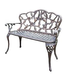 Oakland Living Hummingbird Cast Aluminum Loveseat Bench, Antique Bronze