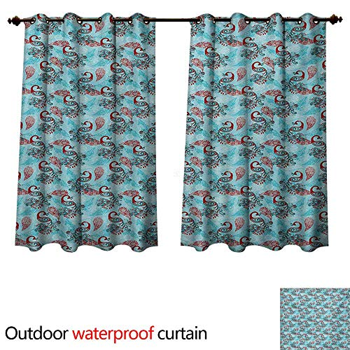 Clear Astoria Crystal (WilliamsDecor Peacock Outdoor Ultraviolet Protective Curtains Peacocks and Snowflakes Classic Traditional Patterns Crystal Christmas Seasonal W72 x L63(183cm x 160cm))