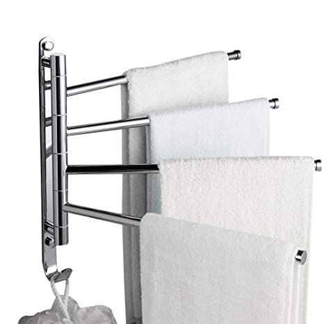 Leyden TM Wall-Mounted Solid Brass Bathroom Kitchen Towel Rack Holder with  4 Swivel Bars