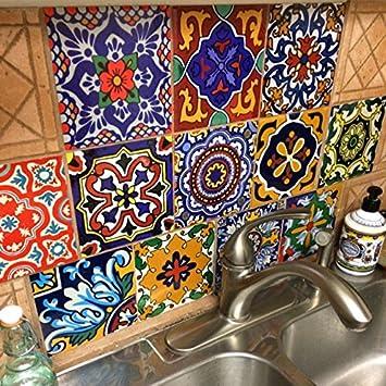12 Designs Mexican Tile Sticker Peel U0026 Stick Vinyl Für Küche U0026 Badezimmer  Backsplash U003d Packung Mit 48 Stück (10cm X 10cm (48pcs)): Amazon.de: Küche U0026  ...