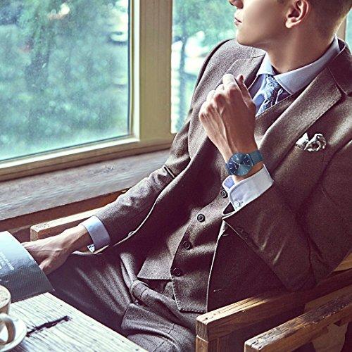 BIDEN-Mens-Fashion-Minimalist-Wrist-Watch-Analog-Deep-Date-with-blue-Mesh-Band