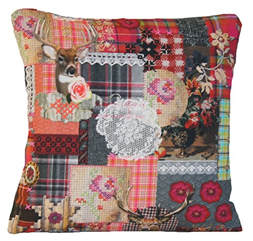 Deer and Lace Decorative Throw Pillow Case Grey Pink Red Roses