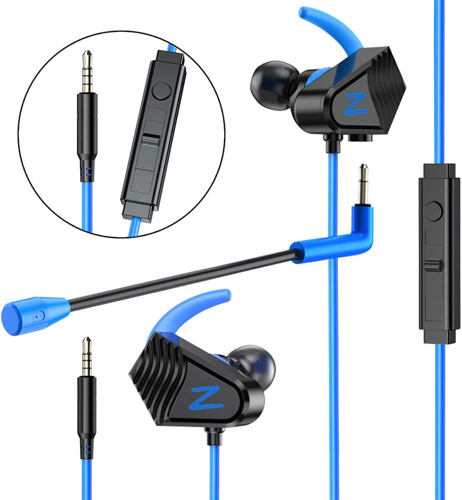 BENGOO V-13 Gaming Earphones Earbuds Headset with Heavy Bass High Sound Quality 3.5mm Microphone Jack for PS4, X box One, Nintendo Switch, Laptop, PC Noise Cancelling 4D Stereo in-Ear Headphones- Blue