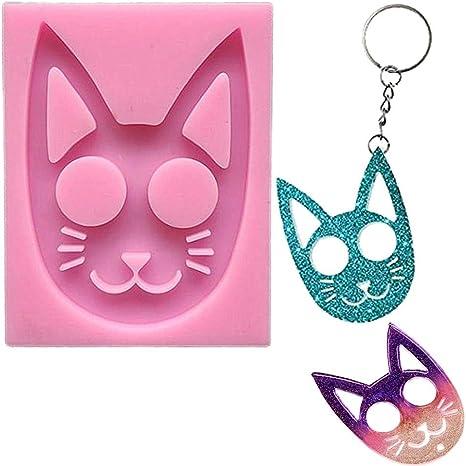 USA SELLER SELF DEFENSE CAT Key Keychain Shiny Pink Silicone Resin Epoxy Mold