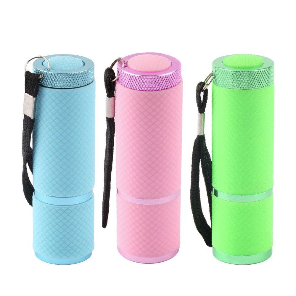 Amazon.com: Mini Gel UV lámpara portabilidad secador de uñas linterna LED Detector de moneda 9 LED de aleación de aluminio AAA batería: Home & Kitchen