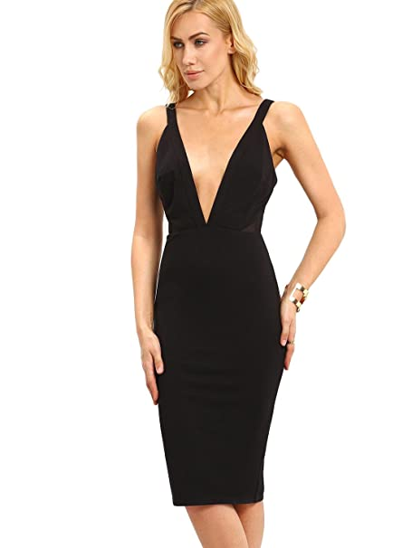 buy popular e81e5 afc59 Backless tubino nero senza maniche con scollo a V delle ...