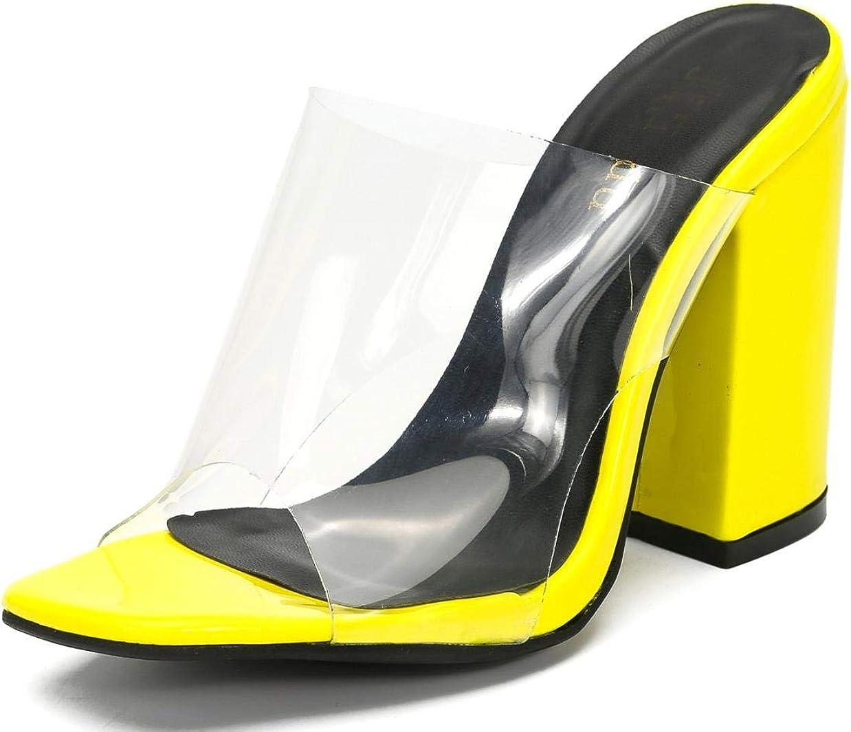 Women High Block Heels Sandals Peep Toe Mules Ladies Clear Platform Shoes Size