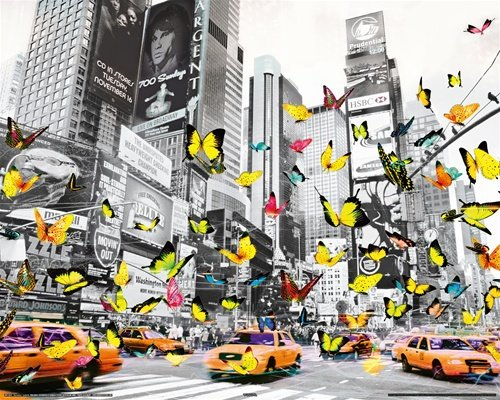 New York Butterflies Times Square Travel Pop Art Poster 16 x 20 inches