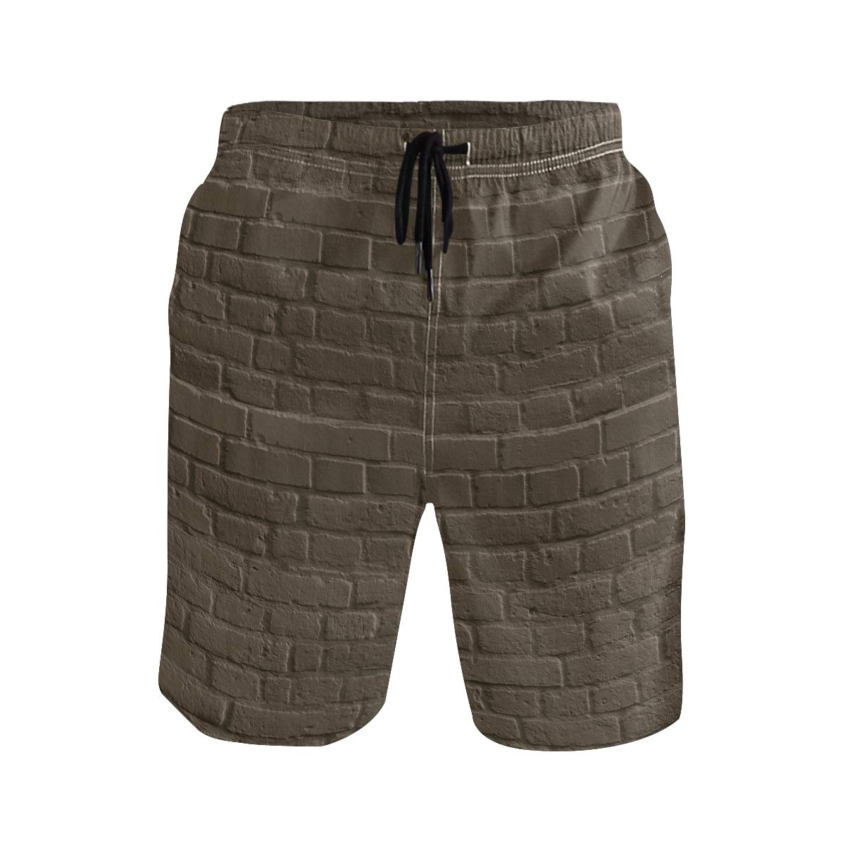 Mens Beach Swim Trunks Brick Wall Seamless Texture Boxer Swimsuit Underwear Board Shorts with Pocket