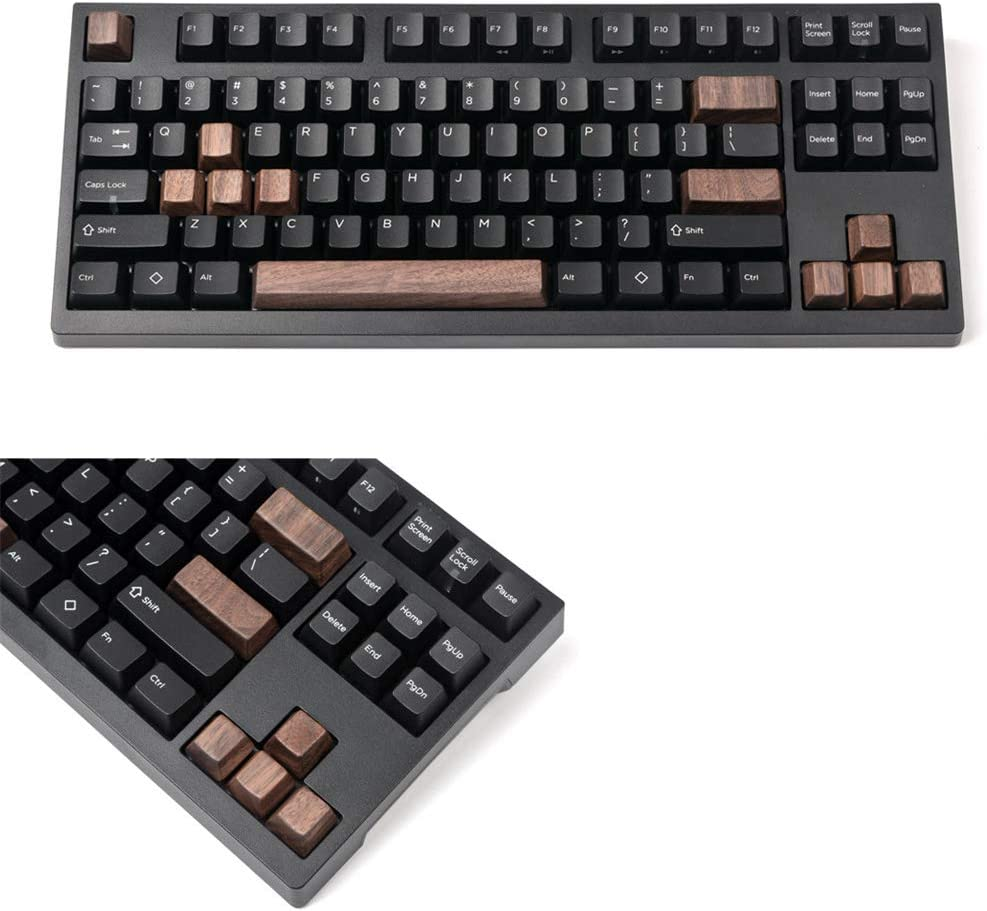 SSSLG Mechanical Keyboard keycaps Black Walnut Solid Wood Personality keycap OEM Wooden keycaps WASD Direction Key Return Space bar Cap,2