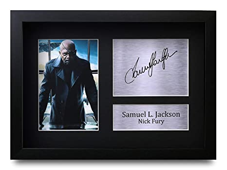 HWC Trading FR Samuel L Jackson Gift Signed Framed A4 Printed Autograph Nick Fury The Avengers Gifts Print Photo Picture Display