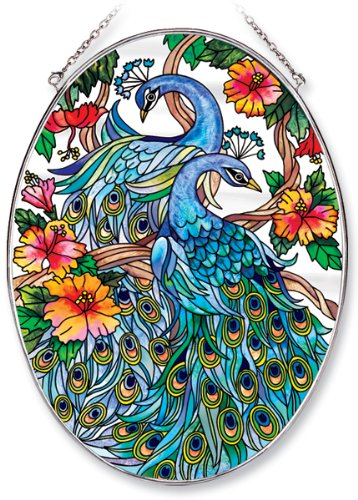 Amia Oval Suncatcher with Peacock Design, Hand Painted Glass, 6-1/2-Inch by - Model Oval Baker