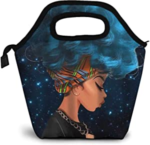 African American Insulated Neoprene Lunch Bag Three Functions Of Hot/Cold/Preservation, Boys Girls School Office Work Lunch Tote Bag Cooler, Outdoor Picnic Food Container