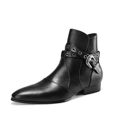 Men's Leather Pointed Toe Pull On Chelsea Ankle Boots Motorcycle Riding Shoes (US 7)