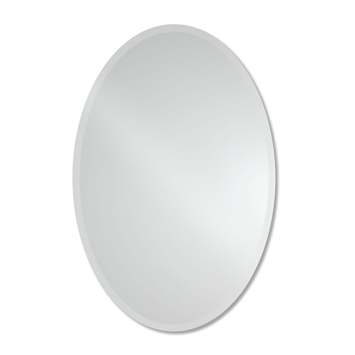 Large Frameless Beveled Oval Wall Mirror   Bathroom, Vanity, Bedroom Mirror   24-inch x 36-inch