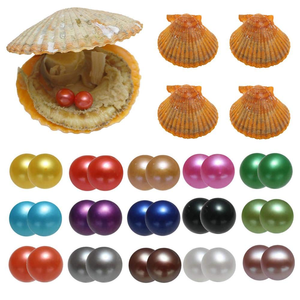 15PC Twin Pearls Oysters, Akoya Saltwater Cultured Love Wish Red Oyster with 30 Round Pearl Inside with 15 Different Color (7-8mm)