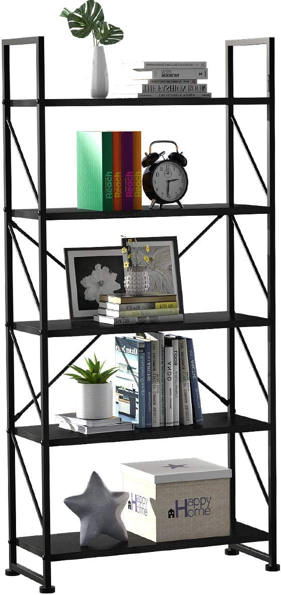 YITAHOME 5 Tiers Bookshelf, Artsy Modern Bookcase, Book Rack, Storage Rack Shelves Books Holder Organizer for Books/Movies in Living Room/Home/Office - Black