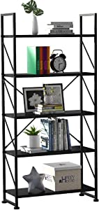 YITAHOME 5 Tiers Bookshelf, Artsy Modern Bookcase, Book Rack, Storage Rack Shelves Books Holder Organizer for Books/Movies in Living Room/Home/Office - Black