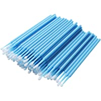 400 Pcs/pack Disposable Micro Brushes Individual Lash Removing Tools Durable Cotton Swabs Micro Applicator, Light Blue…