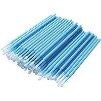 400 Pcs/pack Disposable Micro Brushes Individual Lash Removing Tools Durable Cotton Swabs Micro Applicator, Light Blue, Regular(2.5mm)