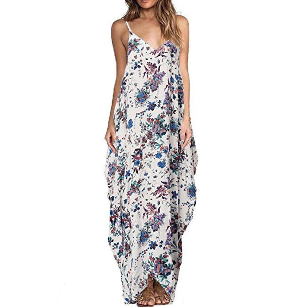 Highdas Damen Sommerkleid Taschen V-Ausschnitt Ärmellos Strandkleider Boho Casual Lang Maxikleid Cocktail Beachwear S-XXXL