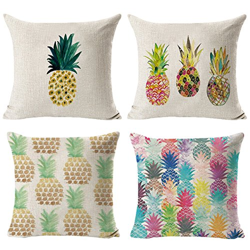 - Hidecor Decorative Throw Pillow Covers Pineapple Pillow Cases Cotton Linen Cushion Cover Pillowcase 18 x 18 for Couch Bed Sofa Patio Car,Set of 4