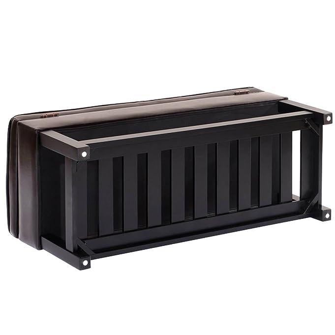 amazoncom giantex storage bench shoe rack ottoman organizer entryway furniture pu leather brown kitchen u0026 dining