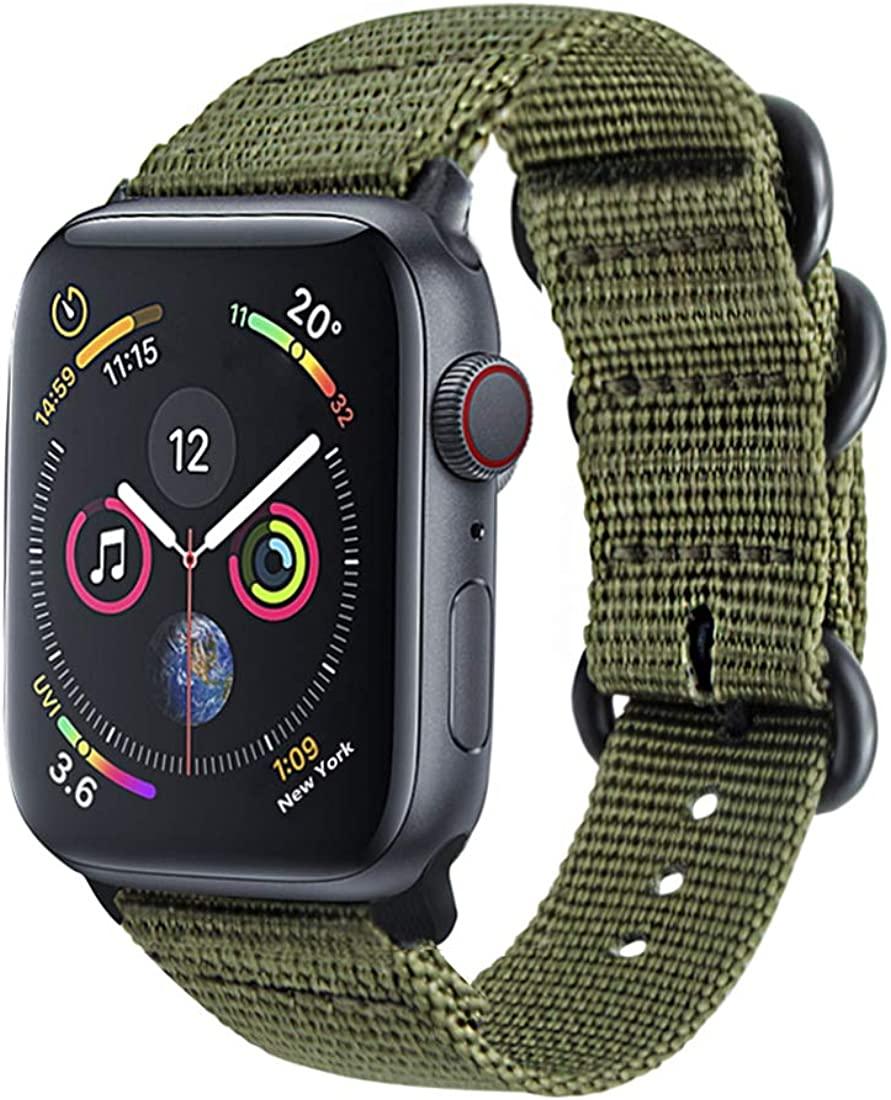 Wollpo Bands Compatible For Apple Watch, Replacement Watch Band Nylon Sport Loop Strap (Nylon Olive 42/44mm)