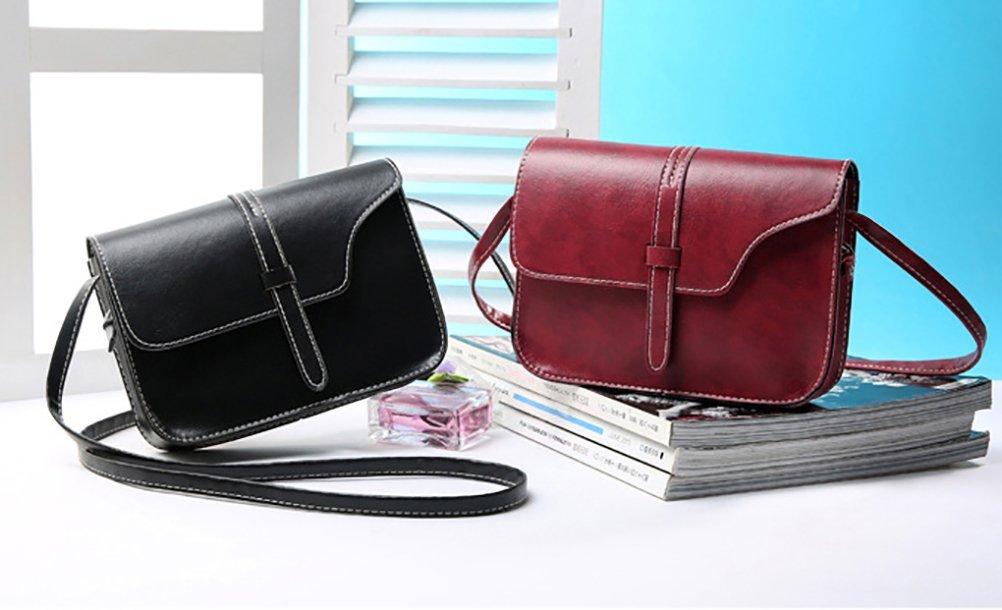 QZUnique Women's Soft PU Leather Fashion Vintage Style Cross Body Shoulder Bag Black by QZUnique (Image #3)