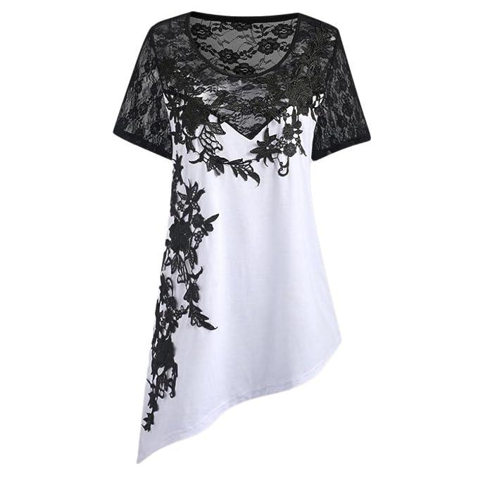 Lenfesh Blusa de Moda para Mujer Apliques Camisa de Encaje Floral Las Camisas Largo Blusa del Dobladillo Irregular Túnicas Talla Grande: Amazon.es: Ropa y ...