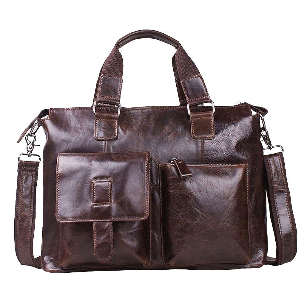 レザーメンズレザービジネスバッグメッセンジャーShouler Bag B01MD0PCMT コーヒー