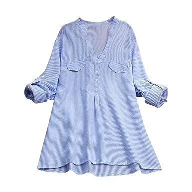 Luckycat Camisa de Rayas de Moda para Mujer Blusa de Bolsillo con Empalme Blusas de Manga