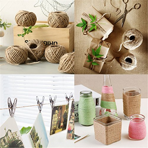 Coxeer 3 Roll Jute Twine Jute String Natural Handmade Colorful Jute Rope for DIY Art Craft Gift Wrapping by Coxeer (Image #1)