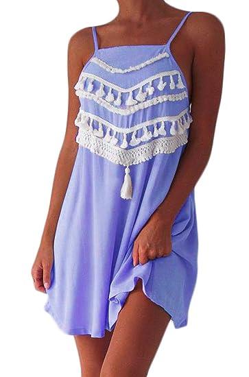 Targogo Vestidos Mujer Verano Sin Mangas Suelto Vintage Bohemio Estilo Etnica Tassel Vestidos Playa Elegante Fashion