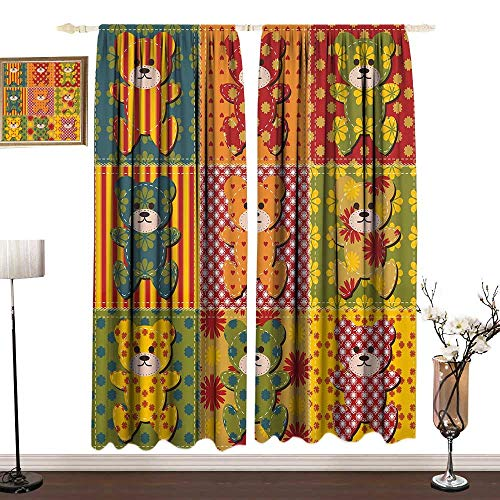Cabin Decor Kitchen Curtains And Valances Set Drapes for Boys Room Colorful Kids Room Pattern with Patchwork Style Teddy Bears Cute Funny Childish Curtain Doorway W120 x L84 IN Multicolor
