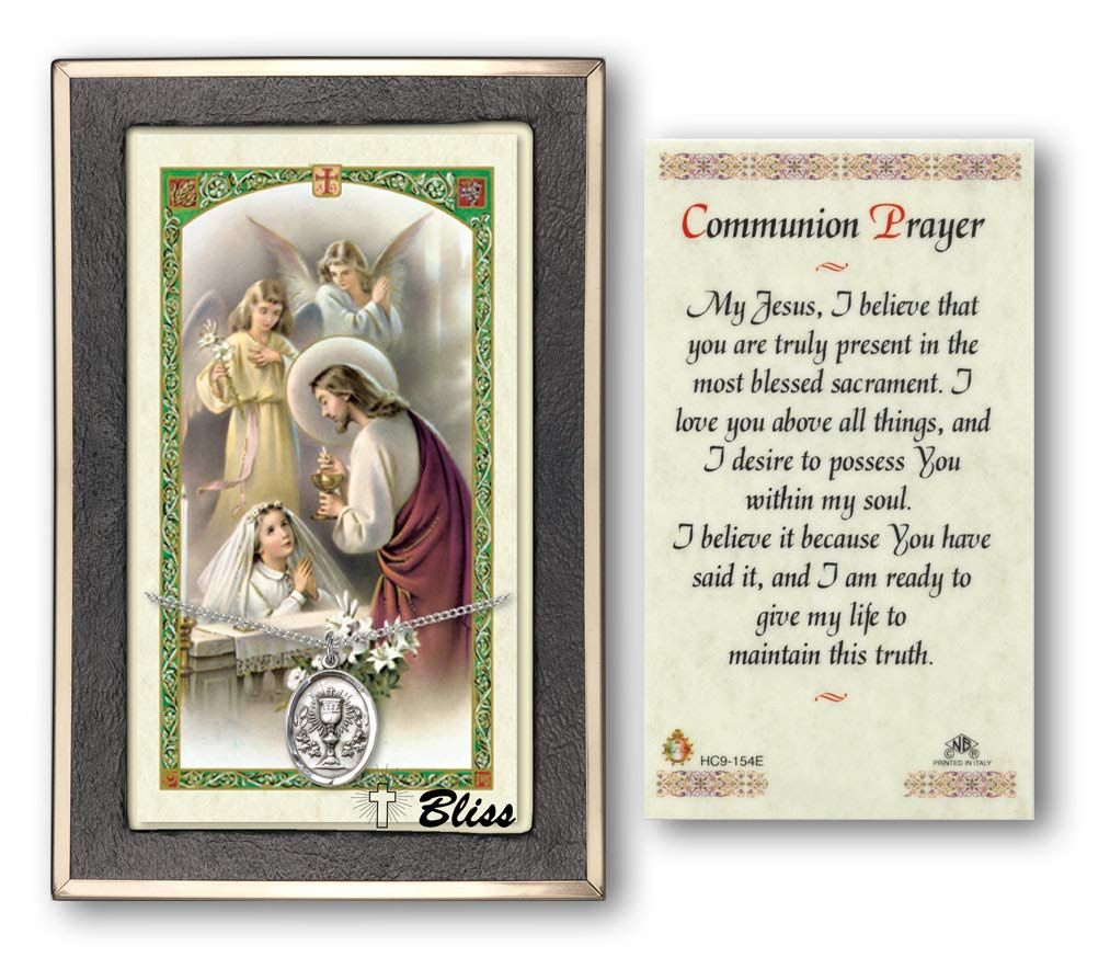 Girl Prayer Card. Small First Communion Sterling Silver Chalice Medal with a Communion Prayer