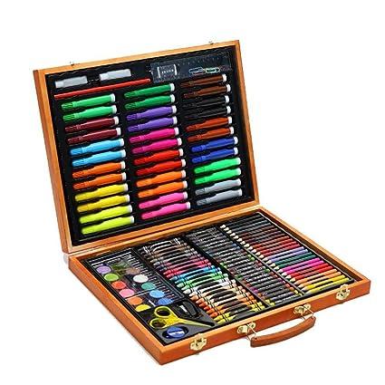 Niños pintura dibujo conjunto de arte | Kit completo de pintura de 150 piezas con una caja compacta y portátil, material de escritorio educativo ...