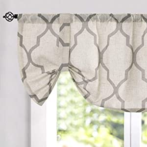 "Moroccan Tile Print Curtain Tie Up Valance for Bedroom Curtain Quatrefoil Flax Linen Blend Textured Geometry Lattice Rod Pocket Window Treatment Set for Living Room 1 Panel 18"" L Grey"