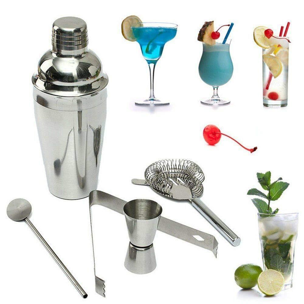 illinoisdeal Stainless Steel Cocktail Shaker Mixer Drink Bartender Martini Tools Bar Set Kit
