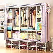 GL&G Portable Clothes Closet Wardrobe Non-woven Fabric Storage Organizer Shelves Garment Rack Foldable Closets With a shoe rack,C,66'' * 70.8''