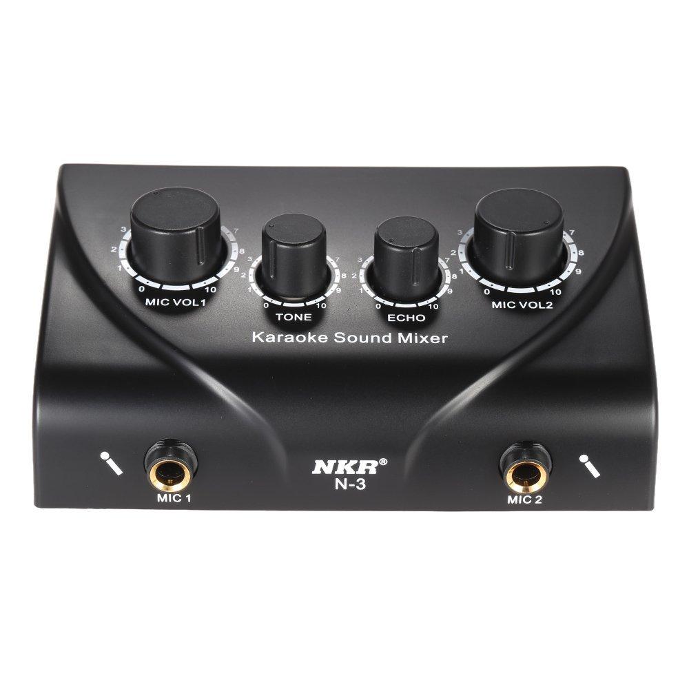 Ammoon Karaoke sonido de mezclas (doble entrada Micro con cable, negro Bus Mixer