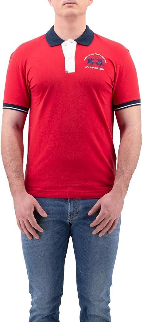 La Martina - Polo Rojo de algodón con Contraste en Cuello y Mangas ...