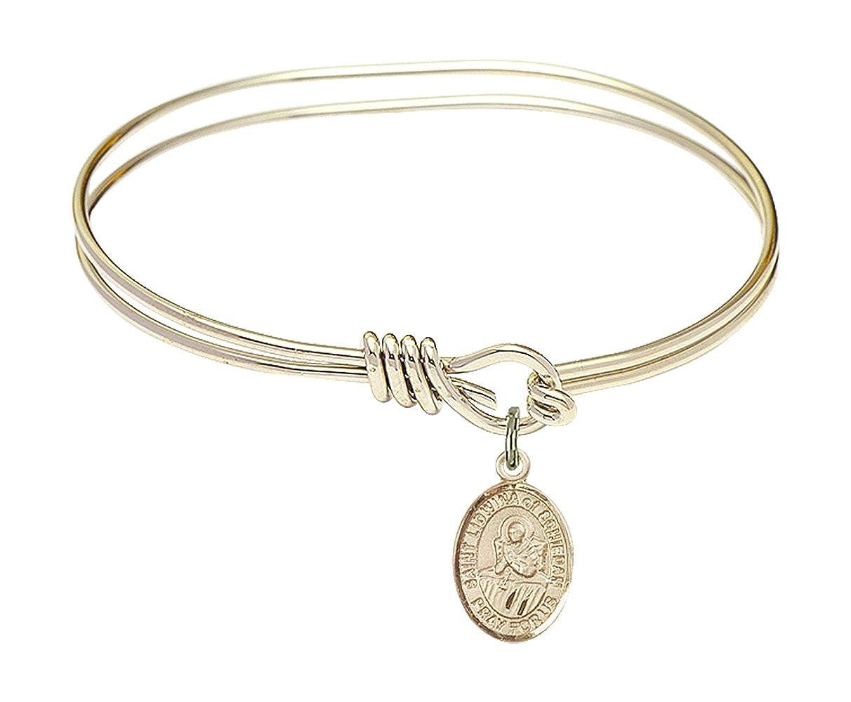 St Lidwina Of Schiedam Charm On A Child Sized 5 3//4 Inch Oval Eye Hook Bangle Bracelet